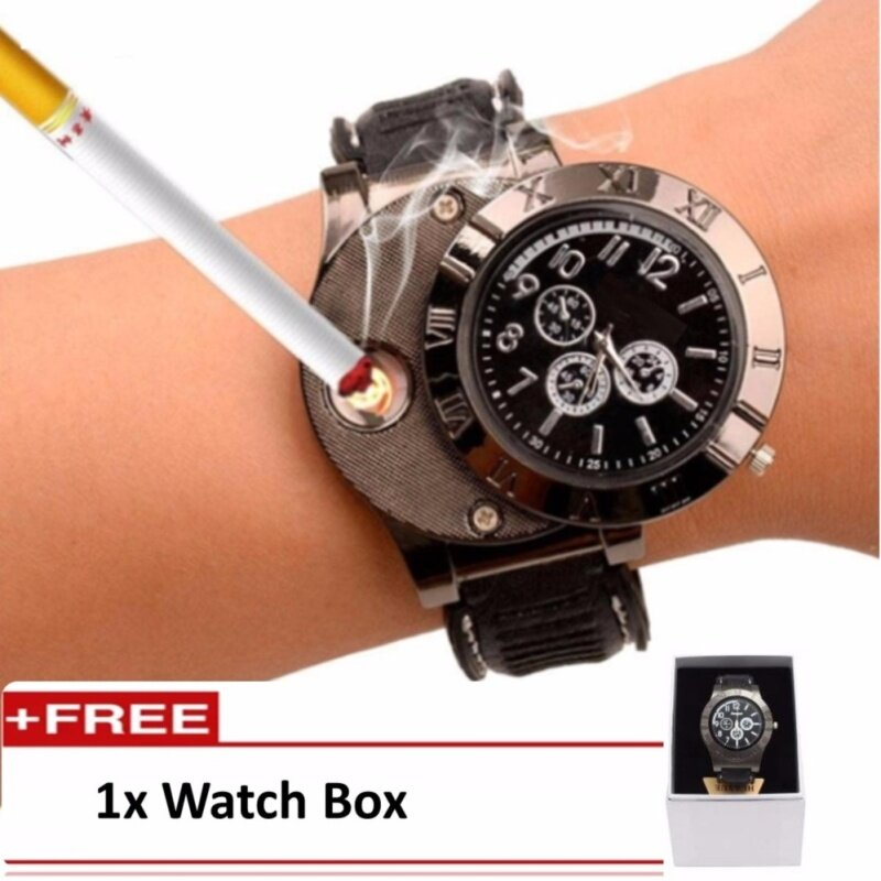 Mens  Electronic Lighter Rechargeable Watch Fashion Chronograph Watch With Flameless  Lighter (Black) Malaysia