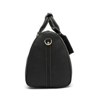 Men's Genuine Leather Overnight Travel Duffel Weekender Bag Leather Luggage Black - 3