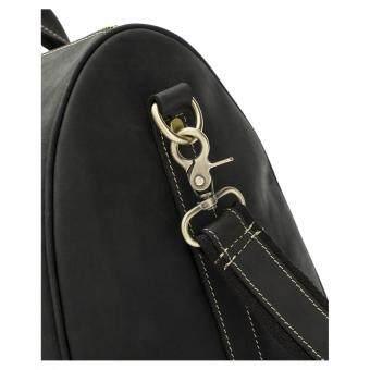 Men's Genuine Leather Overnight Travel Duffel Weekender Bag Leather Luggage Black - 5