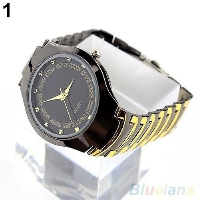 Mens Luxury Business Casual Stainless Steel Link Chain Wristwatch Quartz Round dial Watch (Black) Malaysia