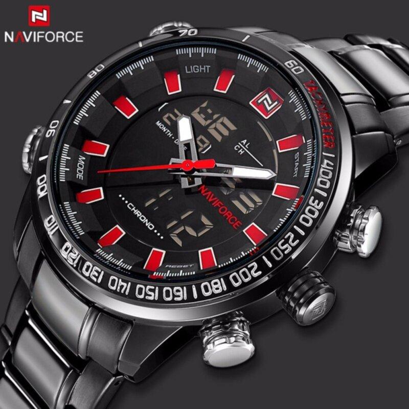 Mens NAVIFORCE Luxury Brand Sport Watches Men Dual Display LED Digital Waterproof Full Steel Quartz Watch Man Clock Malaysia