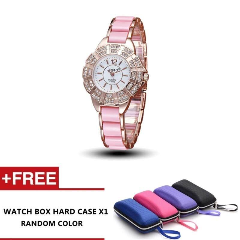 Mercadona Womens Luxury Crystal Rose Gold Imitation Ceramics Watch (Pink) Malaysia