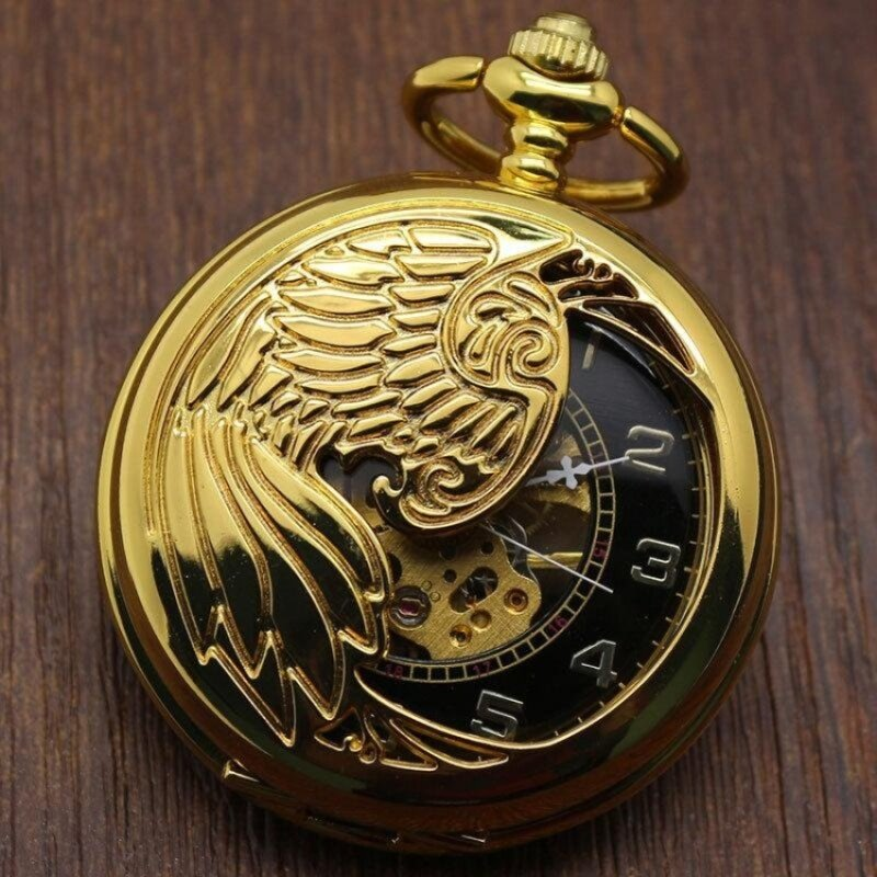 miyifushi Creative mechanical watch animal phoenix pattern providespacket machine carved gold pocket watch (Yellow) Malaysia