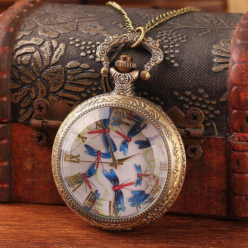 moob Bronze pocket necklace watch quartz roman number case lovely dragonfly with 78cm long chain top quality free shipping wholesale (Bronze) Malaysia