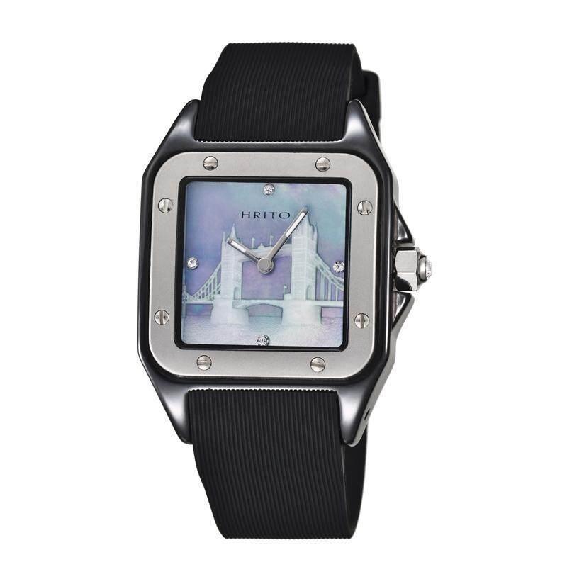 moob HRITO genuine high-end ceramic unisex quartz watch silicone strap Sapphire (silver) Malaysia