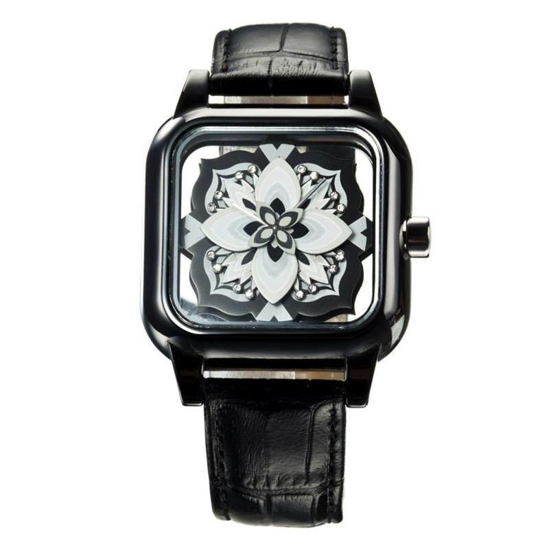 moob HRITO genuine Ms. hollow square dial quartz watch creative petals (black) Malaysia