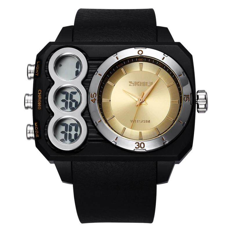 moob In time new authentic mens watches US SKMEI 5ATM waterproof watch double movement square table (Gold) Malaysia