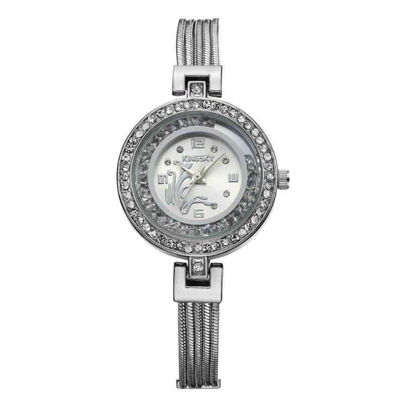 moob Kingsky color factory wholesale Damen quartz watch diamond watch exports the Middle East hot models one or two (Silver) Malaysia