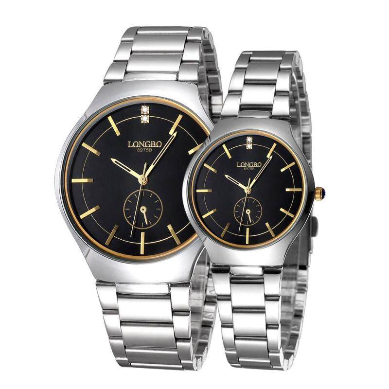 moob LONGBO imported from Japan movement fashion simple dial stainless steel strap couple watches (黑金) Malaysia