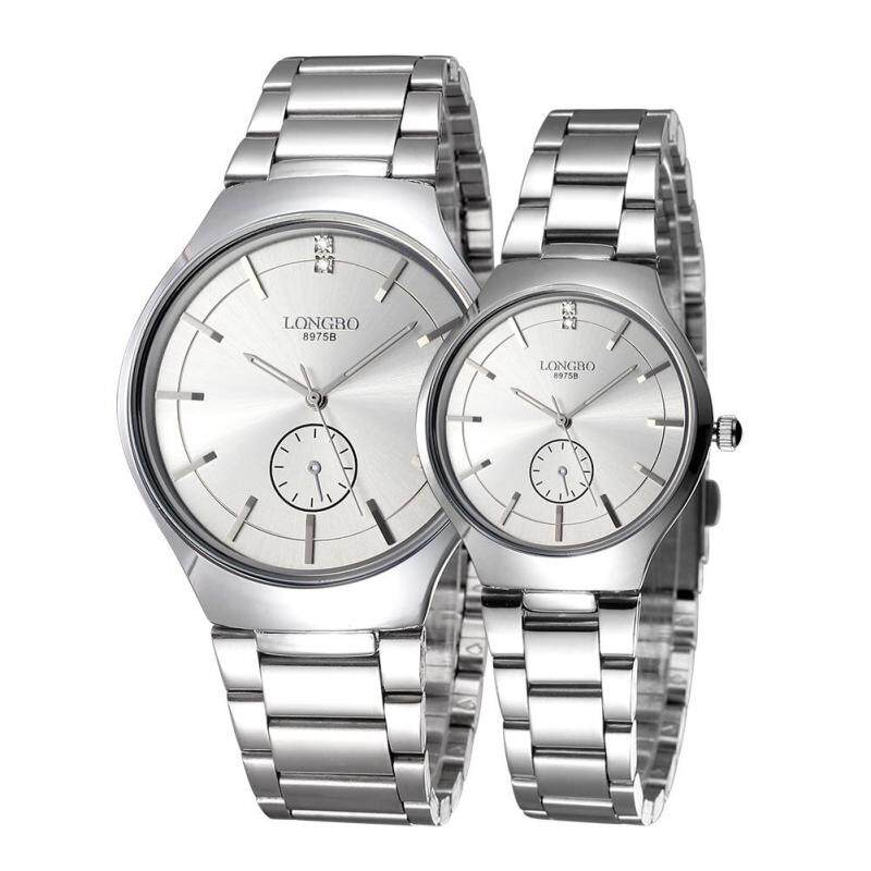moob LONGBO imported from Japan movement fashion simple dial stainless steel strap couple watches (Silver) Malaysia