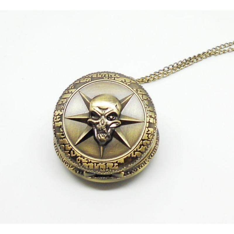 moob Men quartz pocket watch bronze vintage big skull crossfire fashion alloy with long chain best gift free shipping (Bronze) Malaysia