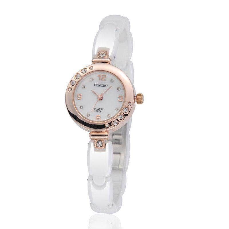 moob Ms. Long Bo genuine high-grade ceramic table waterproof watch white diamond watch student fashion watch (Gold) Malaysia