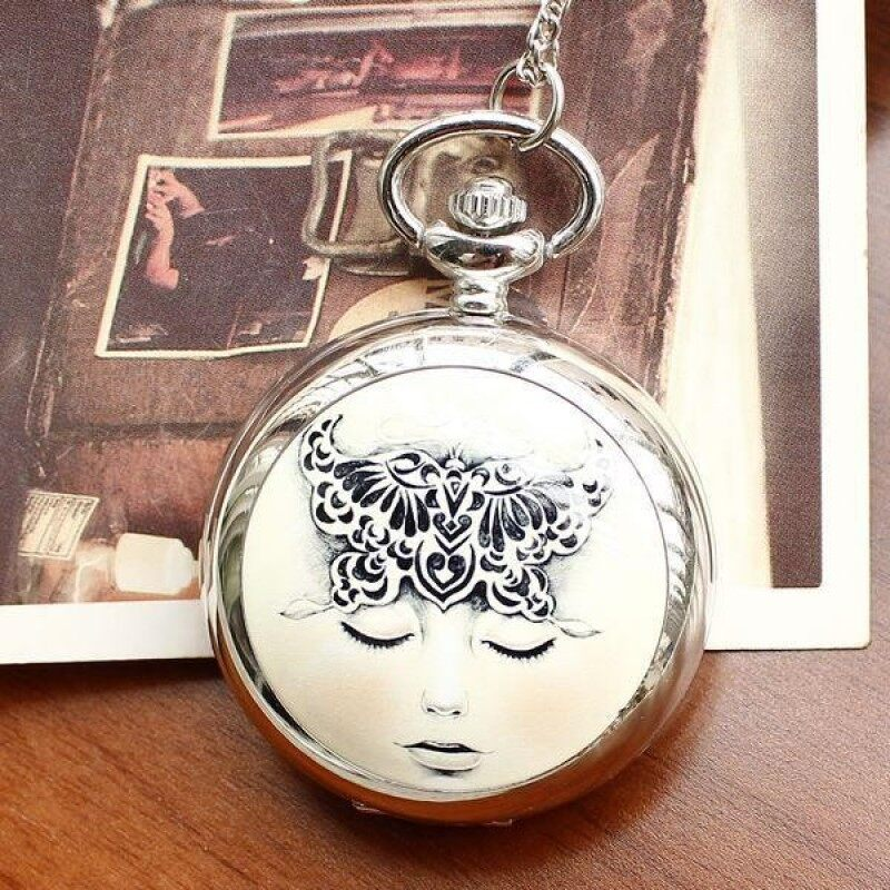 moob New fashion quartz long necklace with dream girl ceramic vintage ladies pocket watch (Silver) Malaysia