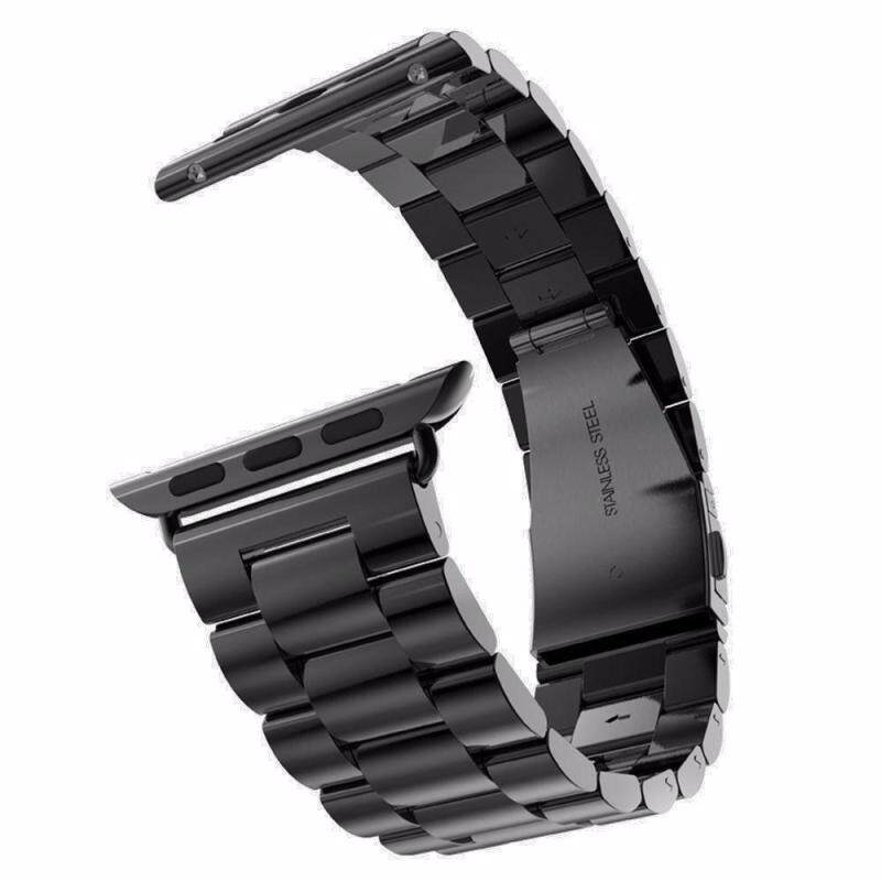 moob Solid Stainless Steel Replacement Strap Polished Metal Watchband With Folding Clasp For Apple Watch 42mm Malaysia