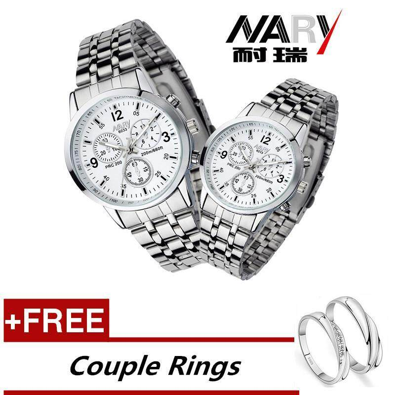 NARY 6033 Dial Classic Couple Lover Women Men Quartz Full Stainless Steel Wrist Watch white +Free Adjustable Lovers Rings (Buy 1 Get 1 Free) Malaysia