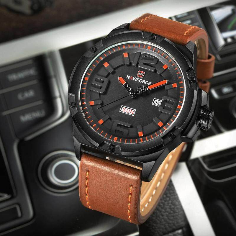 NAVIFORCE Fashion 3D Dial Men Quartz Wathes PU Leather Military Sports Watch 3ATM Water-Proof Casual Wristwatch New + Gift Box Malaysia