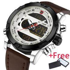 NAVIFORCE Luxury Brand Men Analog Digital Leather Sports Watch Jam Tangan  es Mens Army Military Watch ... 83879ab4eb
