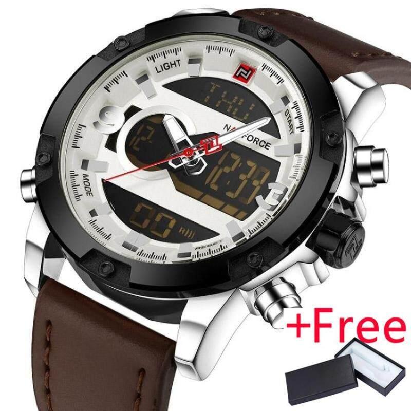 NAVIFORCE Luxury Brand Men Analog Digital Leather Sports Watch Jam Tangan es Mens Army Military Watch Jam Tangan  Man Quartz Clock Malaysia