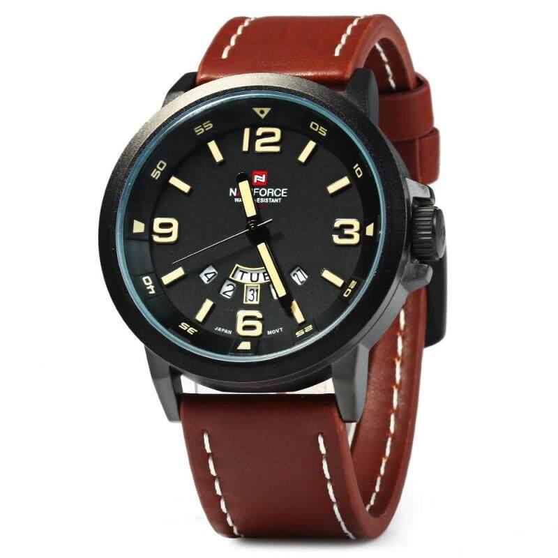 NAVIFORCE NF9028 Men Quartz Watch Analog Wristwatch Date Watches PU Strap Malaysia