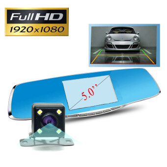 New Full HD 1080P Car Dvr Camera 5 Inch Rearview Mirror Digital Video Recorder Dual Lens Camcorder