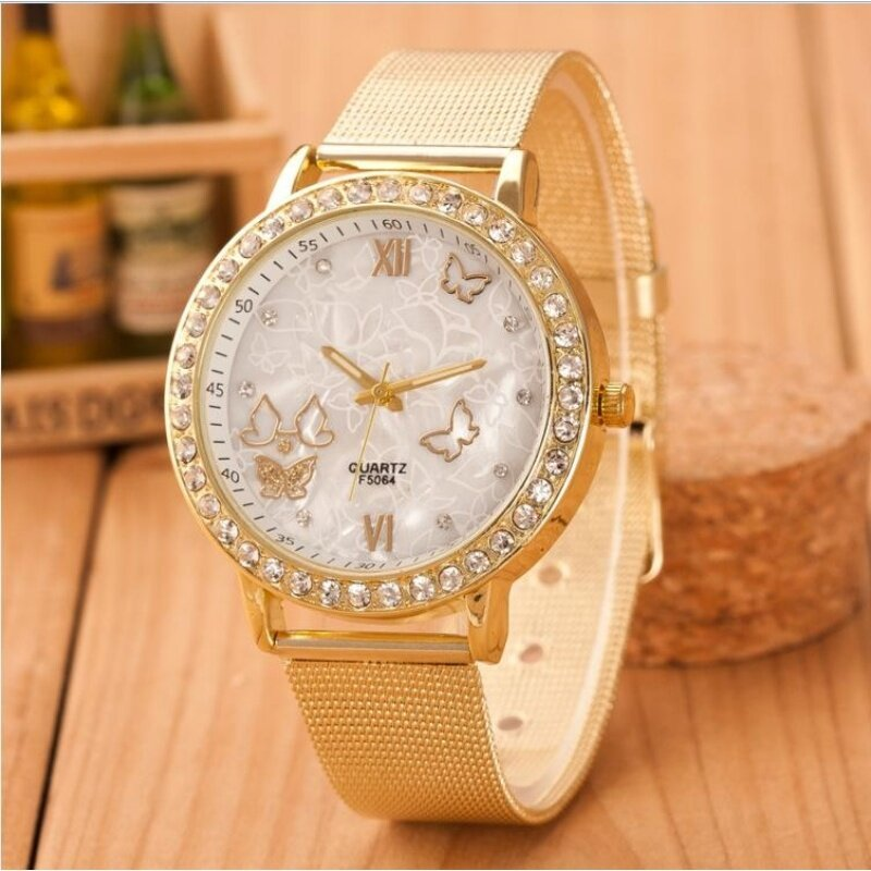 New Ladies High-end Fashion Gold with Butterfly Diamonds Quartz Watch Gold Malaysia