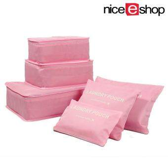 niceEshop 6Pcs Waterproof Travel Storage Bags Clothes Packing CubeLuggage Organizer Pouch (pink)