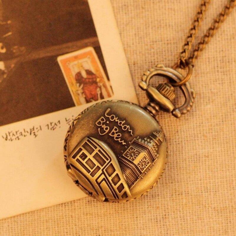 nonof Necklace Pocket Watch For Men Women Best Gift Quartz AlloyPendant Bronze With Long Chain London Building Pattern (bronze) Malaysia