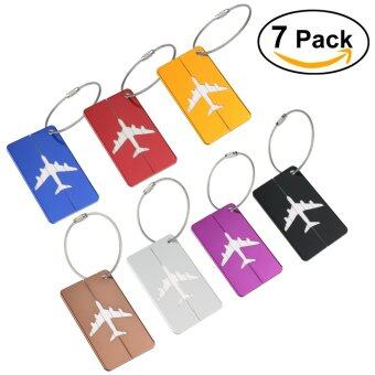 NUOLUX 7pcs Aluminum Air Plane Pattern Luggage Tag Baggage HandbagID Tag Name Card Holder with Key Ring