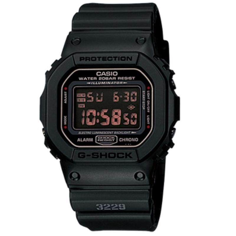 (OFFICIAL MALAYSIA WARRANTY) Casio G-SHOCK DW-5600MS-1 Black Mens Resin Red LCD Standard Digital Watch Malaysia