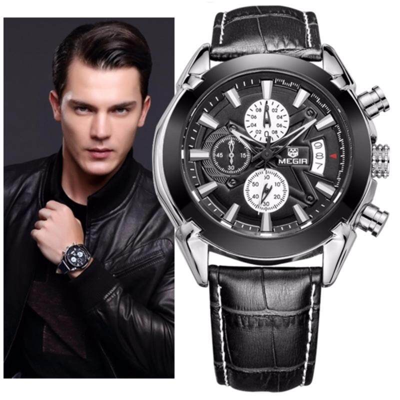 Original MEGIR 2020 Stainless Steel Case Leather Strap Men Male Fashion  (Black) Malaysia