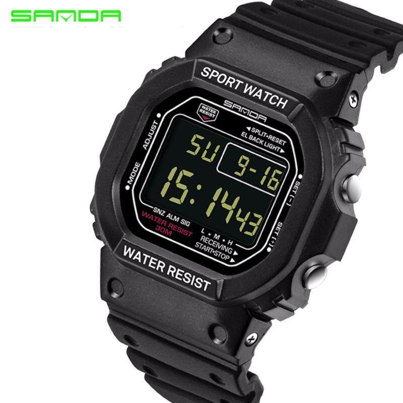 Original SANDA 329 Classic C Style Waterproof Outdoor Sports Men Shockproof Digital Watch (Full Black) Malaysia