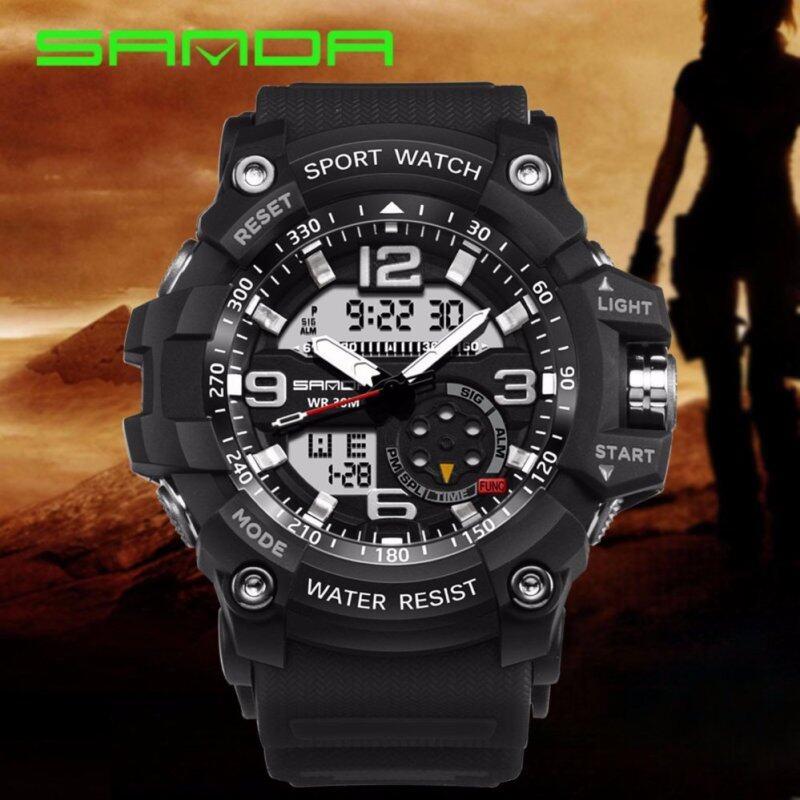 Original SANDA 759 G Style Military Waterproof Outdoor Sports Mens Shockproof Digital Watch (Full Black) Malaysia