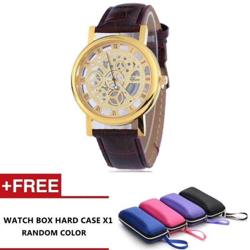 Pavesi Mens Skeleton Transparent Mechanical Stainless Leather Strap Watch (Gold) Malaysia