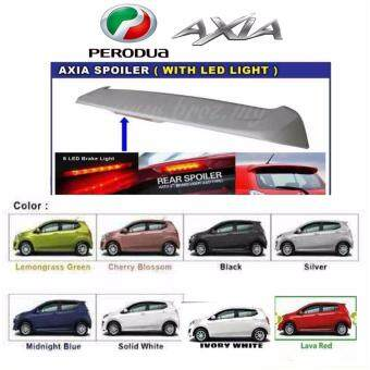 Perodua AXIA OEM Spoiler with break LED light and painting - IvoryWhite
