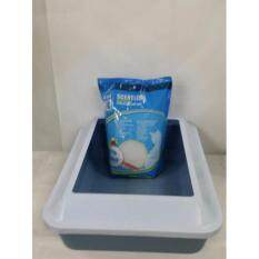pet cat litter tray with guard large size free catit scentless litter beads 181kg marble white