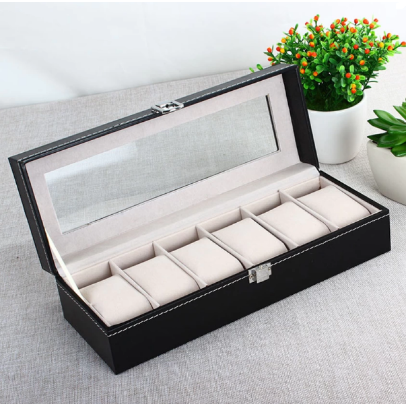 PU 6 Grid Slots Wrist Watches Gift Case Jewelry Display Boxes Storage Holder Malaysia