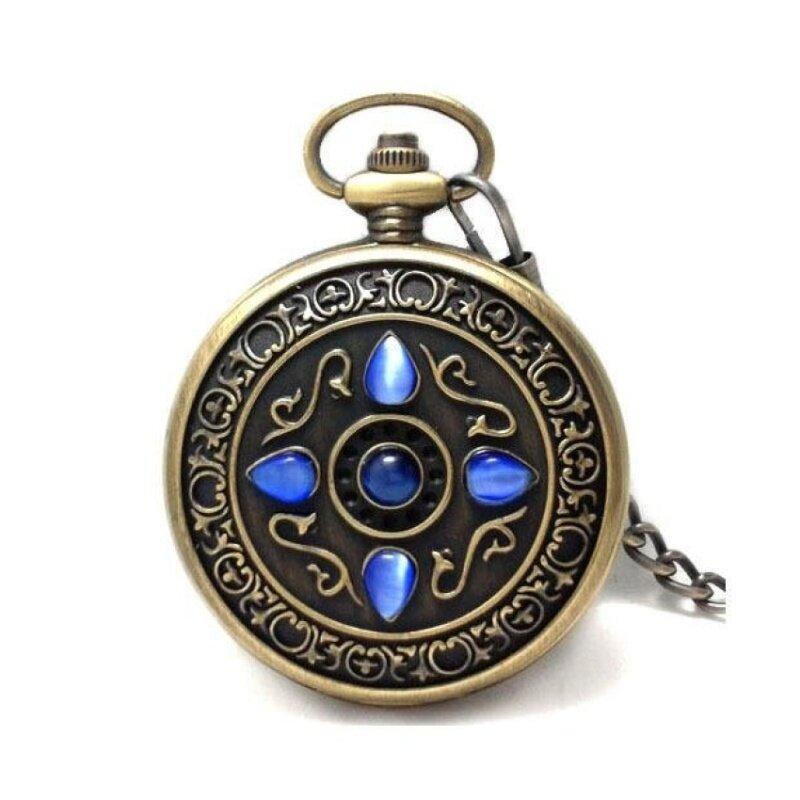 qooyonq Watch authentic retro European watch lucky stone five catstone watch men Rome Mechanical Pocket Watch (Blue) Malaysia