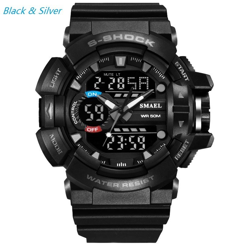 Quartz Watch Electronics Digital Wrist Mens Ms student /Multi-function Double Calendar Countdown Alarm Clock Shock Resistant Waterproof LED Light Luminous (Black Gray) Malaysia