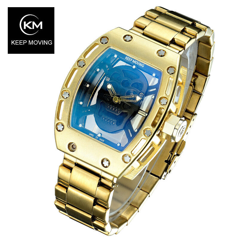 Quick selling WISH hot explosion, skull watch, mens fashion hollowed out skull, steel belt, mens Quartz Watch Malaysia