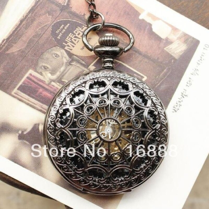 quzhuo New arrival pocket watch necklace automatic mechanical watchhand wind spide pendants men women (as pic) Malaysia