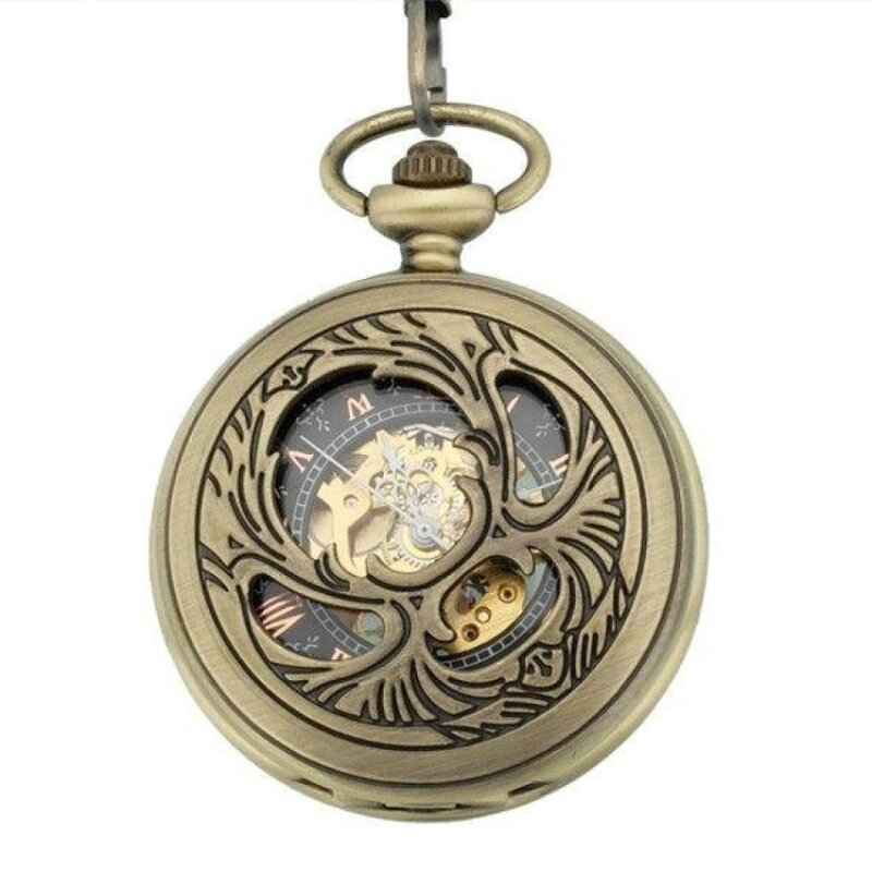 quzhuo Vintage Steampunk Retro Shiny Semi-hollow Phoenix WingsCarving Bronze Mechanical Hand Wind Pocket Watch for Men Women(Yellow) Malaysia
