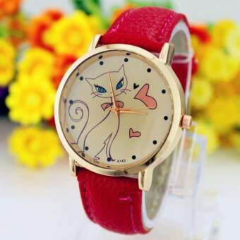 Harga ( red)Beautiful Gift 1PC Fashion Women Cute Cat Watch Ladies Faux Leather Analog Quartz Casual Wrist Watch