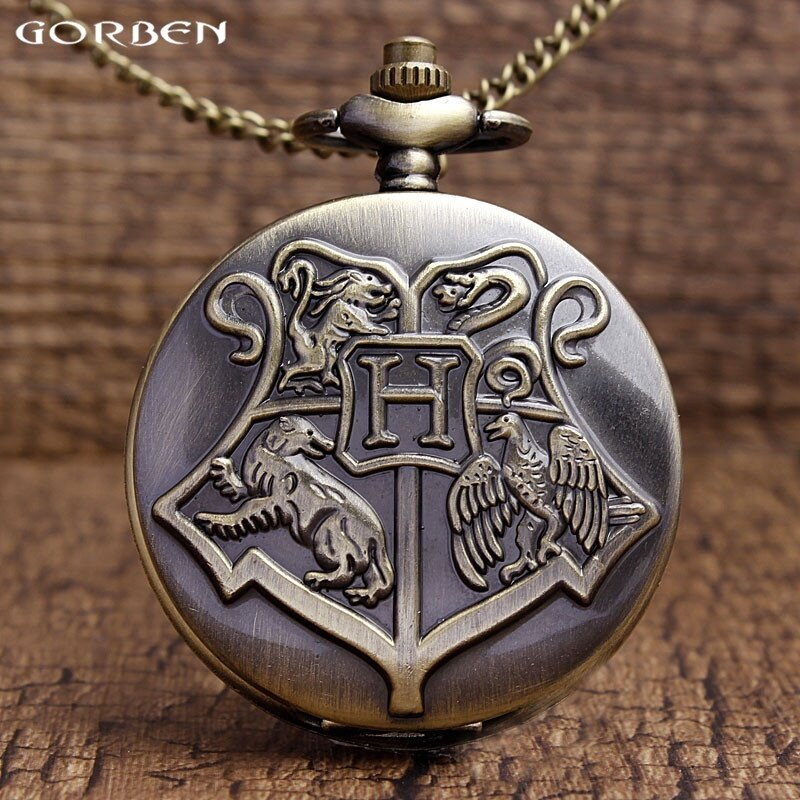Retro Hogwarts School Bronze Pocket Watch Harry Potter Quartz Pocket Watches Men Women Gifts With Chain Necklace Children P305 Malaysia