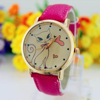 Harga (rose red)Beautiful Gift 1PC Fashion Women Cute Cat Watch Ladies Faux Leather Analog Quartz Casual Wrist Watch