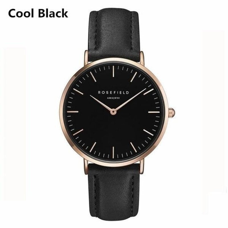 ROSEFIELD Watch Golden Genuine Leather Quartz Movement Water Resistant 3ATM Watch Women Dress Men Sports Famous Brand Watch cool black Malaysia