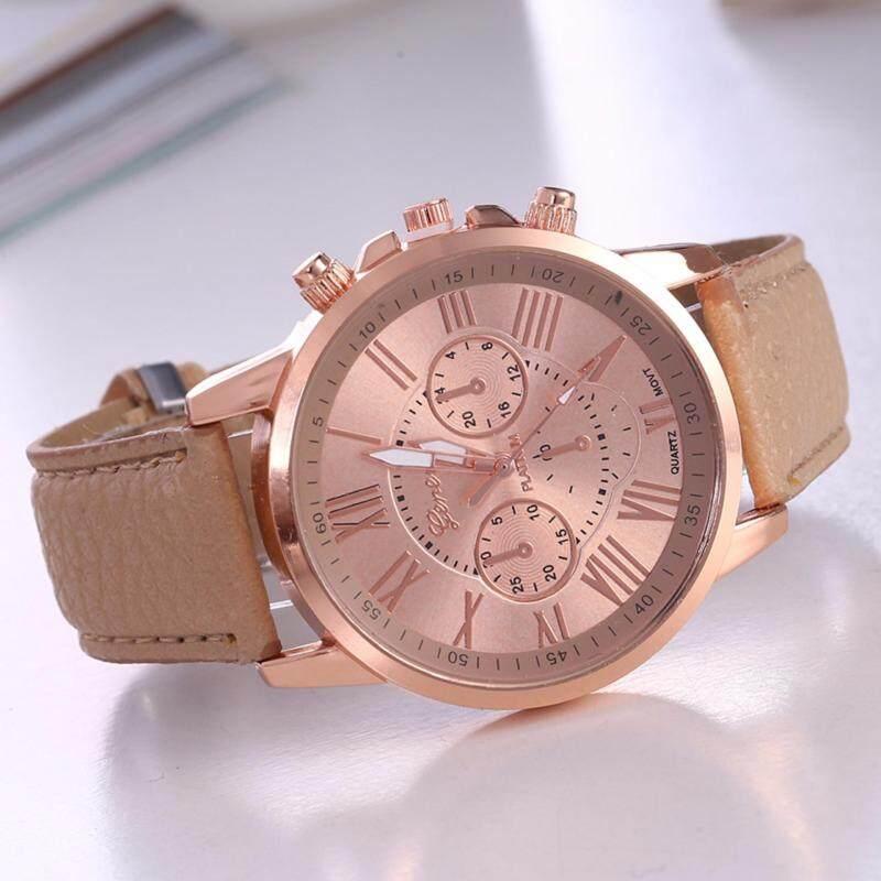 SALE Geneva Luxury Round Stainless Steel Leather Unisex Simple Classic Casual Quartz Men / Women Fashion Watch (Coffee) Malaysia