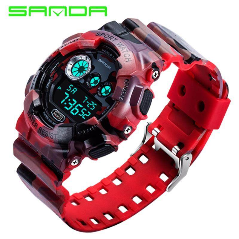 SANDA 289 Camouflage Waterproof Outdoor Multifunctional Sports Mens Quality Shockproof Digital Watch (Red) Malaysia