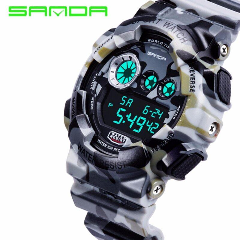 SANDA 289 Camouflage Waterproof Outdoor Multifunctional Sports Mens Quality Shockproof Digital Watch (White) Malaysia