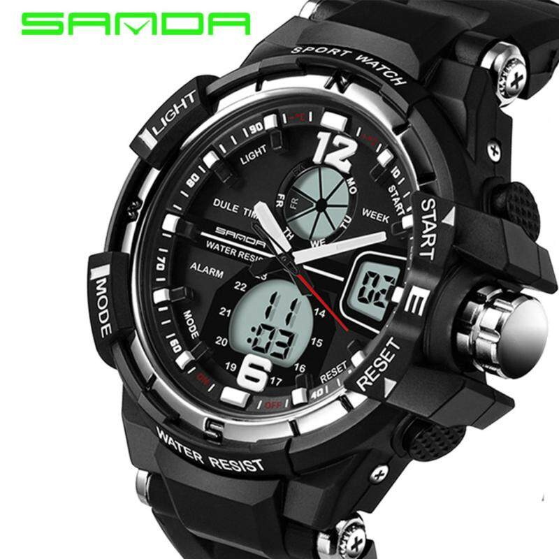 SANDA 289 Waterproof Outdoor Multifunctional Sports Mens Quality Shockproof Digital Watch (Silver) Malaysia