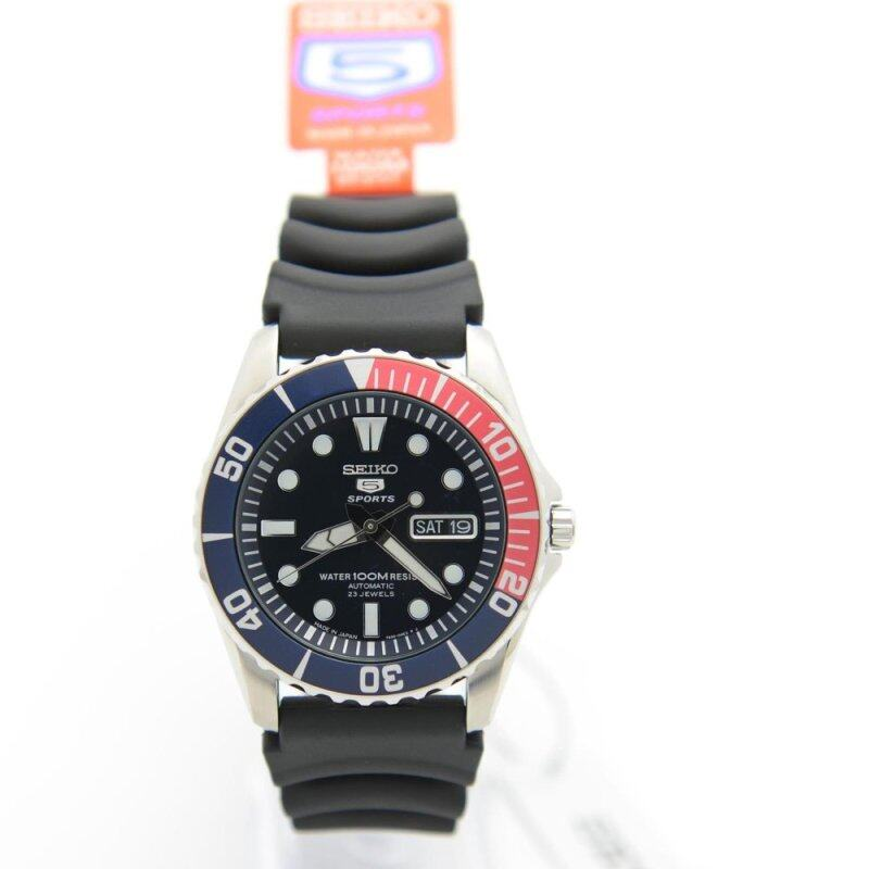Seiko 5 SNZF15J2 Analog 100M Sport Black Rubber Mens Divers Watch Malaysia